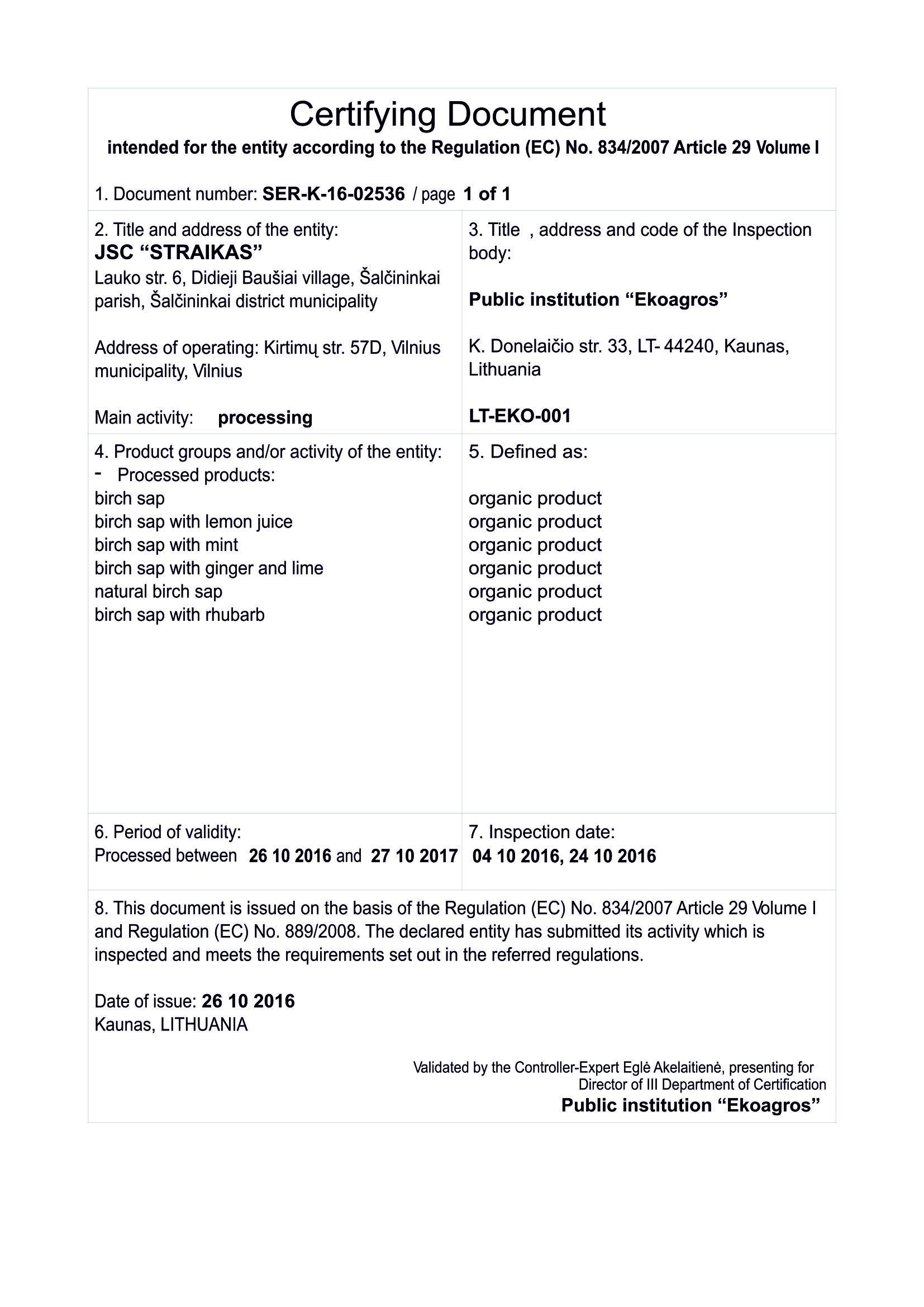 eko agros sertifikatas2017